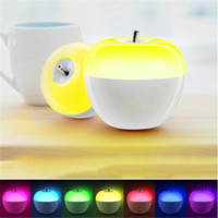Wholesale Toy Atmosphere - Blowing control Apple LED night lights dimmable 8 color changing atmosphere Lamp for bedroom Child gift toy table lamps