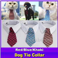 Wholesale large dog bow ties - New Pet Dog Striped Tie collar Cat Bow Cute Dog Necktie Wedding Adjustable Puppy Red Blue Khaki free shipping