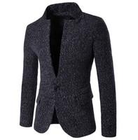 Wholesale Woolen Suits For Men - Wholesale- New Fashion Business Casual Woolen Blazer for Men Korean Fashion Clothing casual suit Jackets slim fit unique blaser masculino