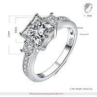 Wholesale Square Charms Ring - ROXI 925 Sterling-silver-jewelry Square Zircon Engagement Ring Silver Charm For Women Heart-shaped For Gift Bijouterie