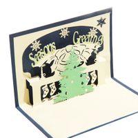 Wholesale kirigami christmas tree - 10pcs lot Handmade Kirigami&Origami 3D Christmas Trees Greeting Cards Pop UP Card Custom Postcard