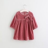 Wholesale Cotton Corduroy Girl Dress - 2017 New Girls Vintage Bow Corduroy Ruffles Spring Fall Dress Candy Color Cute Baby Girl Holiday Party Western Dress