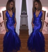 Wholesale Sleevless Party Dress - 2017 Sexy Deep Pluning V Neck Royal Blue Sequins Mermaid Prom Dresses Long Sleevless Floor Length Dresses Evening Wear Party Gowns