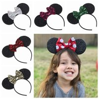 Wholesale Wholesale Boutique Bow Supplies - 2017 Minnie ears minnie mouse hair bows birthday party supplies sequin bow hair hoop princess hair accessories for girls boutique hairbands