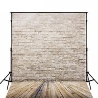 Wholesale Wood Photography Props - 5X7FT Brick Photography Backdrop Wood Floor Newborn Studio Shoot Props Children Vintage Wall Textured Photo Background
