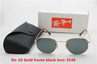 ingrosso black gold retro sunglasses men-.1pcs occhiali da sole retrò in metallo moda di eccellenza occhiali da sole rotondi occhiali per uomo donna oro nero vetro 53 mm lenti con casi migliori