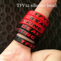 Wholesale Wholesale Vape Accessories - TFV12 BEAST KING Silicone Vape Band Black Red Silicon Beauty Decorative Ring 23.7*5mm for Smok Smoktech TFV12 Vape Mod Accessory Part