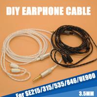 mmcx кабели оптовых-Высокое качество 130 см DIY замена 3.5 мм MMCX разъем кабеля ремонт гарнитуры наушники 18 core медный провод наушники для Shure SE215 315 535