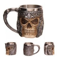 Wholesale Lenses Dragon - Wholesale- Personalized Resin Stainless Steel Fly Dragon Mug 3D Skull Spine Tankard Coffee Copo Birthday Gift Caneca Water Cup Drinkware