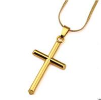 Wholesale Necklace For Men Rock - Mens Cross Necklaces Fashion Hip Hop Jewelry 18k Gold Chokers 45CM Chains Punk Rock Rap Men Necklaces For Sale