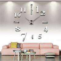 decoração de parede antiga rústica venda por atacado-Chegada nova relógios de Quartzo moda relógios 3d real grande relógio de parede apressado espelho adesivo diy sala de estar decoração frete grátis