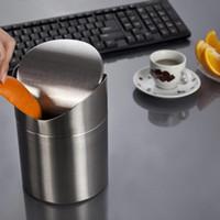 Wholesale Steel Garbage Bucket - Mini Stainless Steel Rubbish Bin Swing Bucket Table Desktop Garbage Can