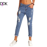 Wholesale Womens Jeans New Arrival - Wholesale- DIDK Womens Blue Ripped Denim Pants Button Fly Mid Waist Summer Trousers For Women Casual New Arrival Fashion Jeans