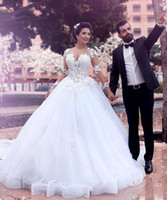 Wholesale Sweetheart Lace Layered - 2017 New Africa Long Sleeves Appliqued Wedding Dresses Vintage A-Line Sweetheart Neckline Layered Tulle Bridal Gowns Court Train Custom Made