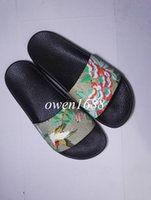 Wholesale White Open Heels - hotsale 2017 mens fashion print leather slide sandals summer outdoor beach causal slipper for mens size euro40-45