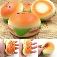 Wholesale Decoration Cars - 10cm Cute Jumbo Soft Squishy Smile Hamburger Charms Slow Rising Kawii Kids Toy Emoji Phone Straps For Cell Phone Decoration OOA2757