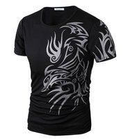Wholesale T Shirt Tattoo Flash - Wholesale- 2015 New Tops Fashion Brand 10 style T Shirts for Men Novelty Dragon Printing Tattoo Male O-Neck T Shirts M-XXXL