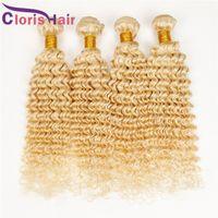 brezilya derin kıvırma 14 saç toptan satış-Renk 613 Kıvırcık Brezilyalı Bakire Saç Örgü Bleach Sarışın Derin Dalga Brazillian İnsan Saç Uzantıları Derin Bukleler 3 Demetleri Fırsatlar