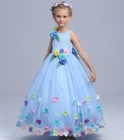 Wholesale Dress Wedding Tale - Girls Sleeveless Flower princess Dress fairy petals ball Gown high quality kids fairy tale princess cosplay party wedding costume for 3-11T