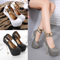 Wholesale Sexy Night Club Shoes - Sexy Women Evening Party Bridal Dress Shoes 2017 Sexy Ladies Night Club High Heels Buckle Waterproof 16CM 34-40 Size Women Pumps