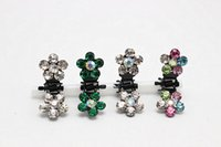 Atacado 100pcs Crystal Flower Small Hair Claw Clip Hair Clamp Grip
