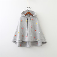 Wholesale Girl Children Princess Coat - Kids Girls Knit Poncho 2-7Year Baby Girls Pom Pom Hooded Coat Infant Girl Gray Jackets Princess Outwear 2017 Children Clothing Wholesale D34