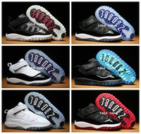 Wholesale Autumn Sunset - Small baby shoes Air Retro 11 Space Jam Kids Sport Basketball Shoes 6 Colors GS Heiress Suede Maroon Sneakers Blue Moon Sunset Size 22-27