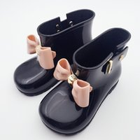 Wholesale Bow Rainboots - Girls RainBoots Rainshoes Children Butterfly Knot Bow Baby Girl Princess Casual Shoes Waterproof Anti-slip Boots Kids Shoes Wholesale 713