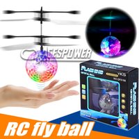 Wholesale Mini Remote Control Infrared - RC Flying Ball Infrared Sense Induction Mini Aircraft Flashing Light Remote Control UFO Toys for Kids