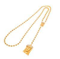altın kristal tespih toptan satış-Erkekler Altın Kaplama Katolik İsa Tespih Boncuk Kolye Hıristiyan Çift İsa Charm Kolye Dini Uzun Boncuk Zincir