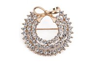 Wholesale China Wholesale Women Suits - Jewelry Brooches Alloy Metal Elegant Gold Tone Three Ring Rhinestones Crystal Bowknot Pin Brooch Jewelry Fashion Suits Accessories For Women