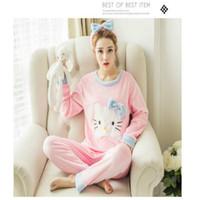 Wholesale Kitty Girl S Sets - Wholesale- Cartoon Women Pajamas Sets 2016 Cotton Autumn&winter Long Sleeve Nightgown Girls Pajamas Sets Hello Kitty Style Clothing