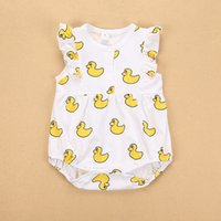 Wholesale Size Cotton Boy Shorts - INS hot selling 7 style New Arrivals summer baby kids yellow duck print romper baby kids cotton boy girl short sleeve romper 0-3T