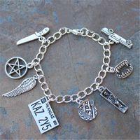 Wholesale Horror Charms - 12pcs Supernatural inspired bracelet Sam and Dean Demon hunters horror occult charm bracelet