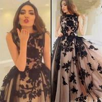 черное кружевное платье из фатина тюля оптовых-Черное кружево Вечерние платья в арабском стиле с длинными рукавами 2017 года Аппликация Тюль Vestido De Gala A-Line Пром Платья для особых случаев для выпускных