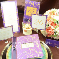 Wholesale Customize Purple Invitation Cards - Wholesale- Luxury Purple Wedding invitations set Free Personalized & Customized Printing Wedding Cards TX-200457 Free Shipping