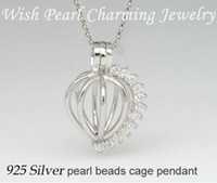 Wholesale Gem Studded - Gem-studded 925 Silver Heart Locket Cage, Sterling Silver Can Hold A 8mm Pearl Gem Bead Cage Pendant Mounting, DIY Jewelry Charm
