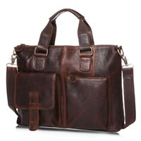 Wholesale Bag Briefcase Satchel Laptop - Wholesale- Men Genuine Leather Bags Handbag Top Quality Messenger Briefcase Laptop Shoulder Bag Large Size Real Leather Crossbody Bag
