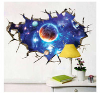 Wholesale Galaxy Planet Space D wallpaper Wall Sticker For Kids Boys Bedroom Art Vinyl D Wall Decal Peel and Stick