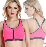 Wholesale Yoga V Neck Sport Bras - NEW Women Yoga Push Up Bra Front Buckle Shakeproof Non Steel Ring Jogging Vest Training Breathable Sport Clothes Underwear Athletic Apparel