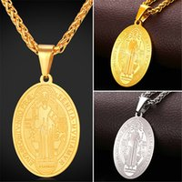 Wholesale Stainless Medal - U7 Saint Benedict Medal Pendant Necklace Round Oval Gold Plated Stainless Steel Charms Jewelry Perfect Gift Men Women Necklace Accessories
