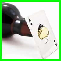 Wholesale ace poker - Poker Card Ace Beer Bottle Opener Creative Pocket Credit Card Beer Wine Openers Silver Stainless Steel Hotel Bar Openers