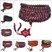 achat buddhistische perlen großhandel-Achat Lucky Six Words 108 Perlen Armbänder Armreifen Buddhist Buddha Meditation Gebetskette