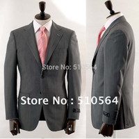 Wholesale Italian Wool Men Suit - Wholesale- Free shipping high quality Italian 160's worsted 100% Wool suit Men Formal Business suit two button grey Suit(jacket+pants)