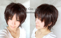 Wholesale Titan Eren Wig - Free shipping New High Quality Fashion Picture wig >Attack on Titan Eren Jaeger Short Dark Brown Straight Cosplay Party Wig