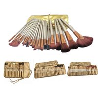 Wholesale Plastic Packaging For Hair - STOCK HOT NEW Makeup Brushes Nude 3 12 24 32piece Professional Brush sets Gold package For Concealer Brushes new arrival free DHL
