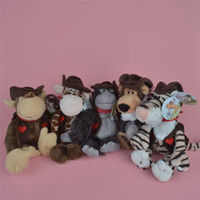 Wholesale Lion Plush - 25cm Cowboy Wild Animals Soft Stuffed Plush Toy, Lion, Tiger, Giraffe, Monkey Baby Kids Brithdat Party Doll Gift Free Shipping
