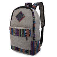 Women block travel bags - Durable Ethnic Canvas Zipper Bag Girl Casual Floral Print Color Block Women Canvas Backpack for Travel School Laptop