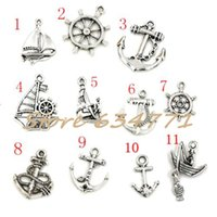 Wholesale Sailing Charms - Hot ! 110pcs Antiqued Silver Mixed Sailing & anchor & rudder Charm Pendant DIY Jewelry 11 - style
