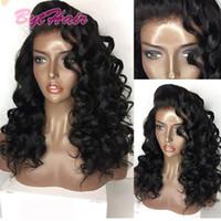 brezilya kıvırcık dantelli peruk toptan satış-Bythair Ucuz Doğal Saç Tam Dantel Peruk Brezilyalı Hint Derin Curl Remy Virgin İnsan Saç Siyah Kadınlar için Dantel Ön Peruk
